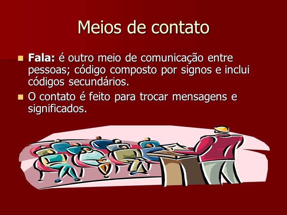 Meios de contato Fala: é outro meio de comunicação entre pessoas; código composto por signos e inclui códigos secundários. Fala: é outro meio de comun
