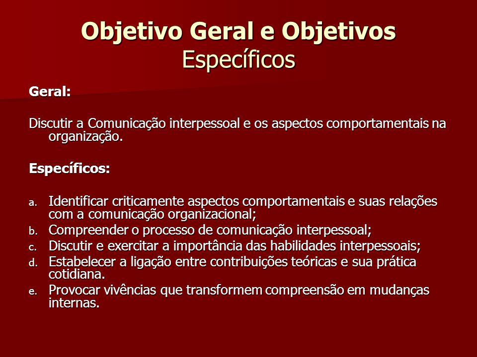 Objetivo Geral e Objetivos Específicos Geral: Discutir a Comunicação interpessoal e os aspectos comportamentais na organização. Específicos: a. Identi