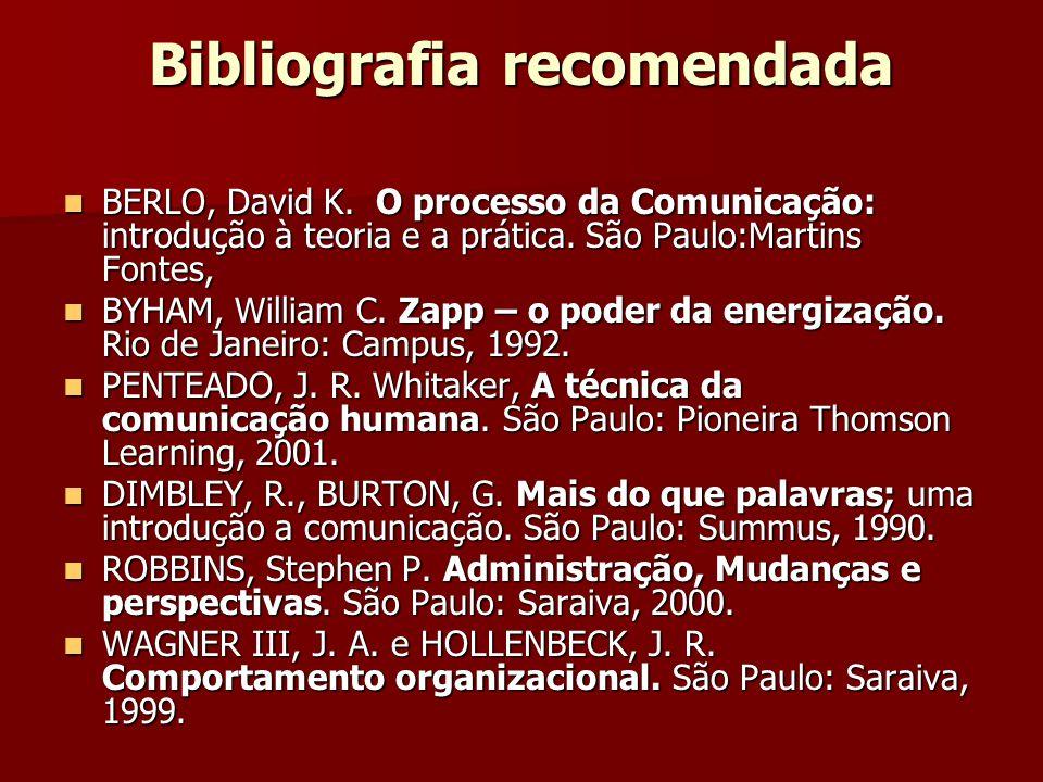 Bibliografia recomendada BERLO, David K. O processo da Comunicação: introdução à teoria e a prática. São Paulo:Martins Fontes, BERLO, David K. O proce