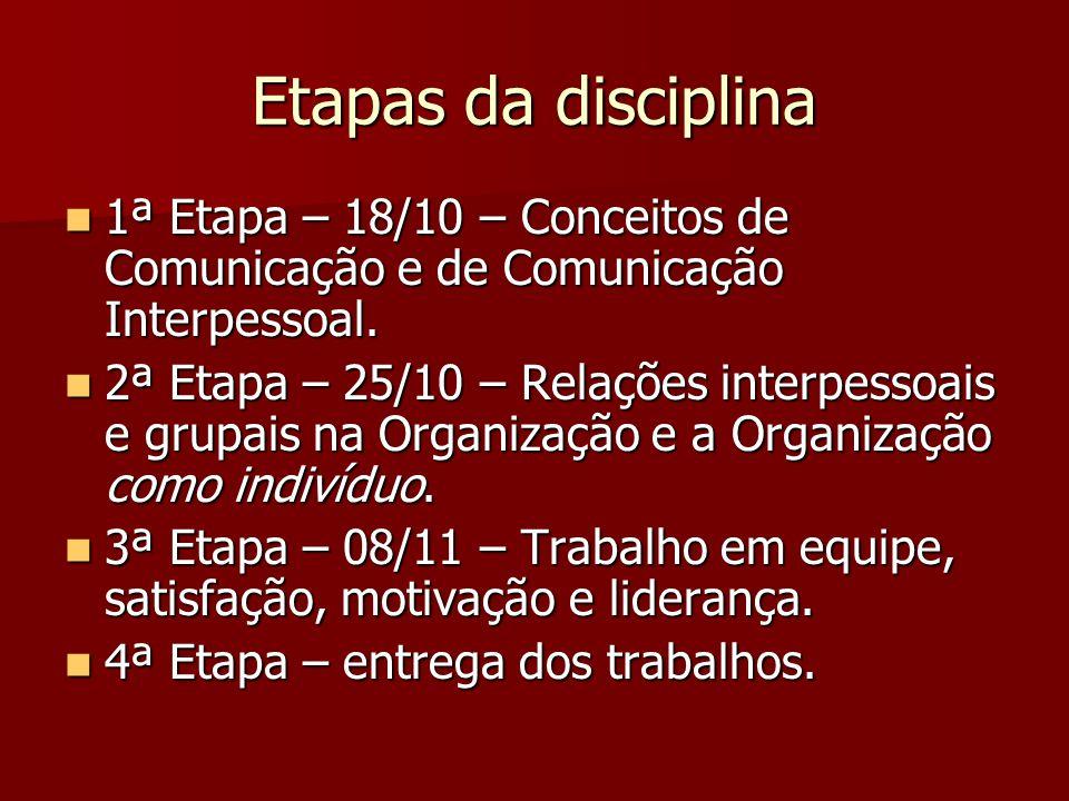 Etapas da disciplina 1ª Etapa – 18/10 – Conceitos de Comunicação e de Comunicação Interpessoal. 1ª Etapa – 18/10 – Conceitos de Comunicação e de Comun