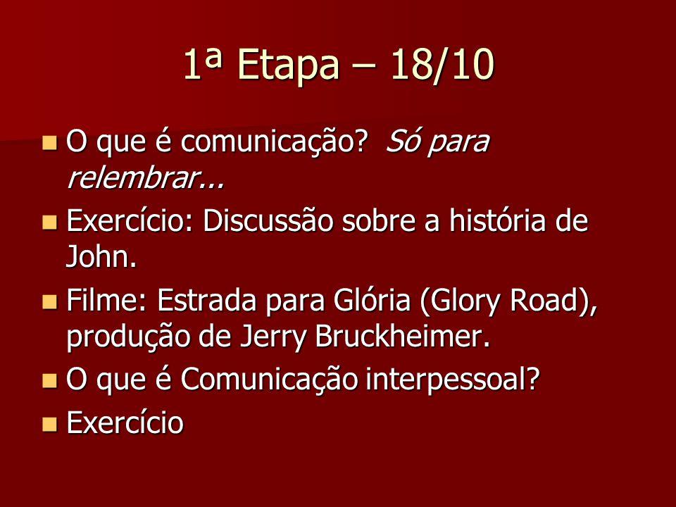 1ª Etapa – 18/10 O que é comunicação? Só para relembrar... O que é comunicação? Só para relembrar... Exercício: Discussão sobre a história de John. Ex