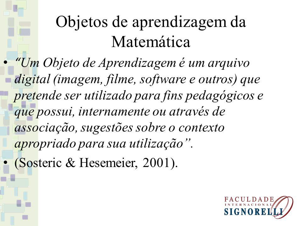 Objetos de aprendizagem da Matemática Um Objeto de Aprendizagem é um arquivo digital (imagem, filme, software e outros) que pretende ser utilizado par