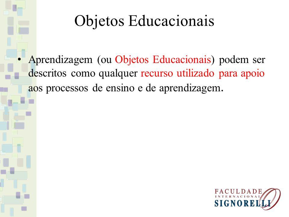 Objetos Educacionais Aprendizagem (ou Objetos Educacionais) podem ser descritos como qualquer recurso utilizado para apoio aos processos de ensino e d