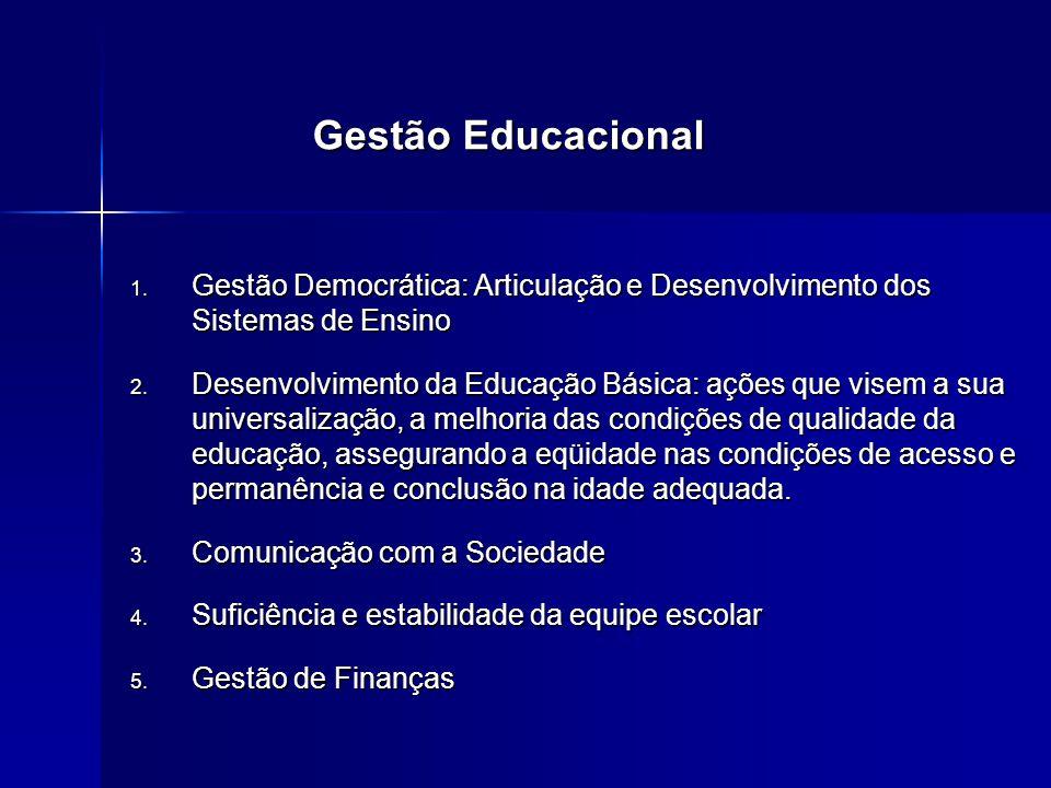 1. Gestão Democrática: Articulação e Desenvolvimento dos Sistemas de Ensino 2. Desenvolvimento da Educação Básica: ações que visem a sua universalizaç