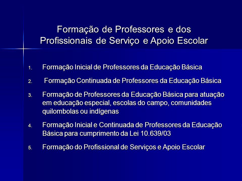 1. Formação Inicial de Professores da Educação Básica 2. Formação Continuada de Professores da Educação Básica 3. Formação de Professores da Educação