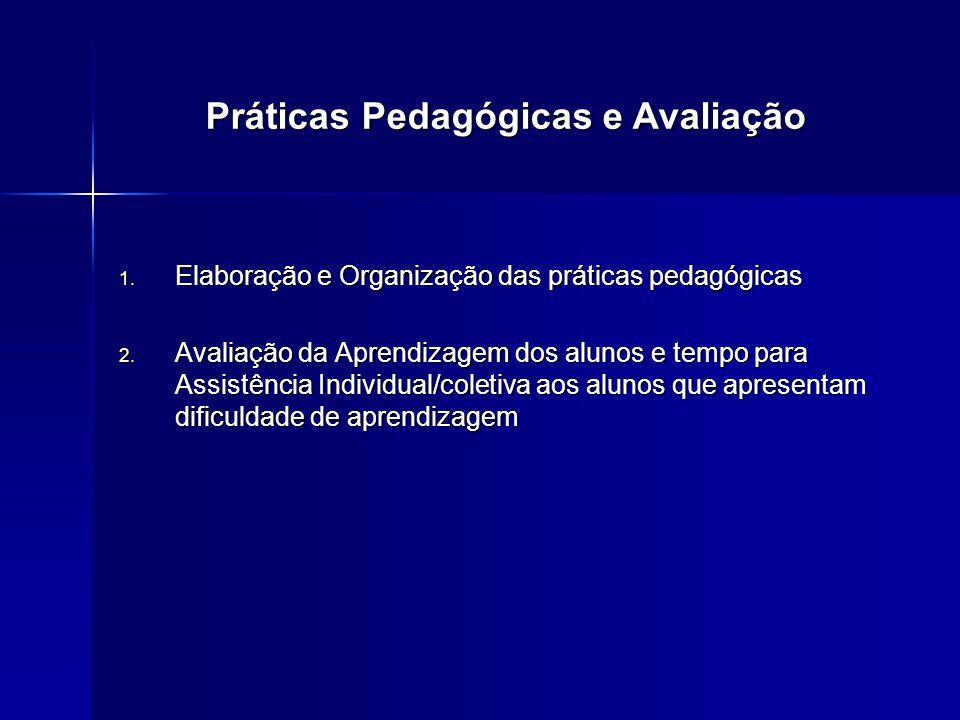 1. Elaboração e Organização das práticas pedagógicas 2. Avaliação da Aprendizagem dos alunos e tempo para Assistência Individual/coletiva aos alunos q