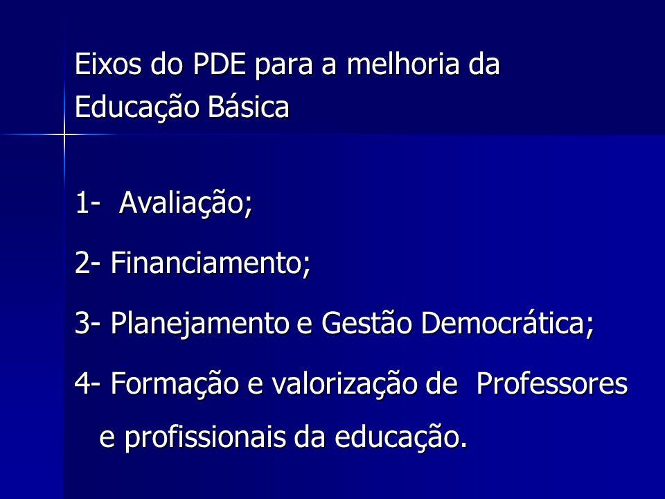 Eixos do PDE para a melhoria da Educação Básica 1- Avaliação; 2- Financiamento; 3- Planejamento e Gestão Democrática; 4- Formação e valorização de Pro