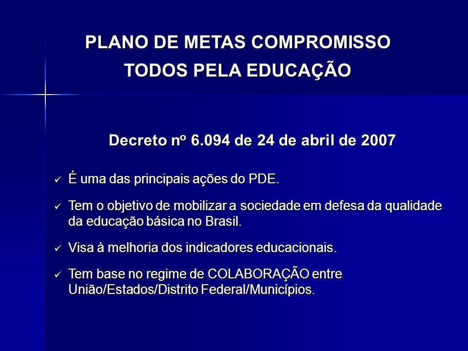 Decreto n o 6.094 de 24 de abril de 2007 É uma das principais ações do PDE. É uma das principais ações do PDE. Tem o objetivo de mobilizar a sociedade