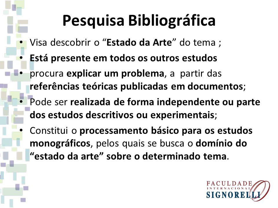 Pesquisa Bibliográfica Visa descobrir o Estado da Arte do tema ; Está presente em todos os outros estudos procura explicar um problema, a partir das r