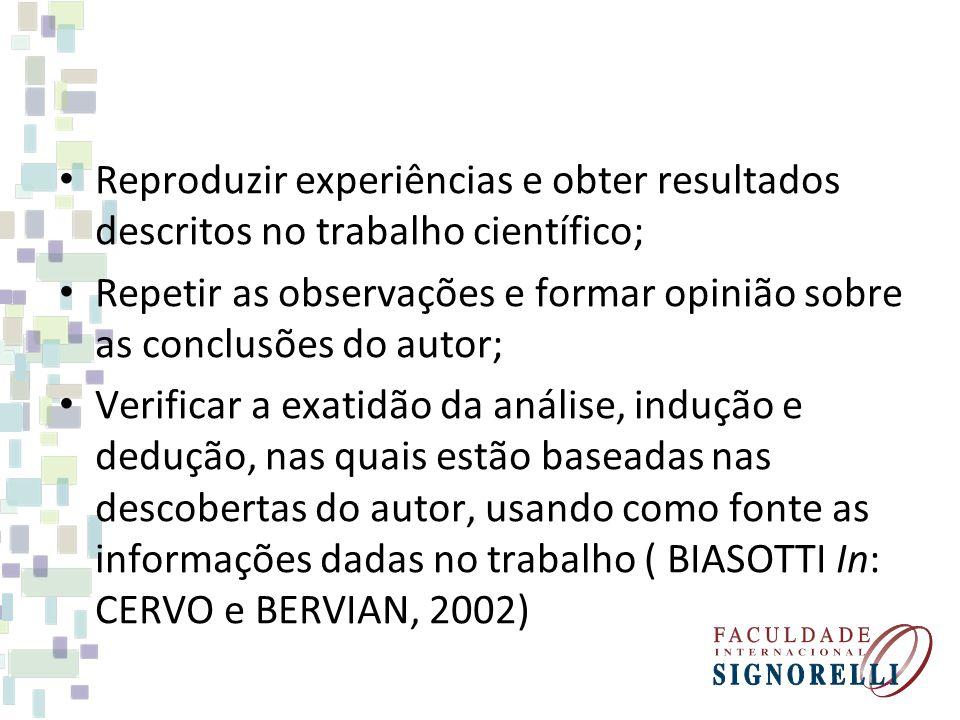 Reproduzir experiências e obter resultados descritos no trabalho científico; Repetir as observações e formar opinião sobre as conclusões do autor; Ver