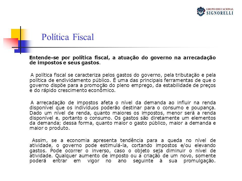 Entende-se por política fiscal, a atuação do governo na arrecadação de impostos e seus gastos. A política fiscal se caracteriza pelos gastos do govern