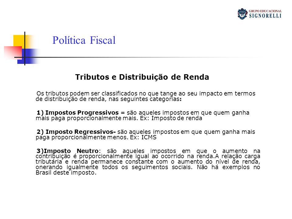 Tributos e Distribuição de Renda Os tributos podem ser classificados no que tange ao seu impacto em termos de distribuição de renda, nas seguintes cat