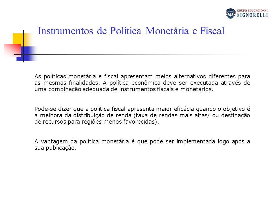 Instrumentos de Política Monetária e Fiscal As políticas monetária e fiscal apresentam meios alternativos diferentes para as mesmas finalidades. A pol