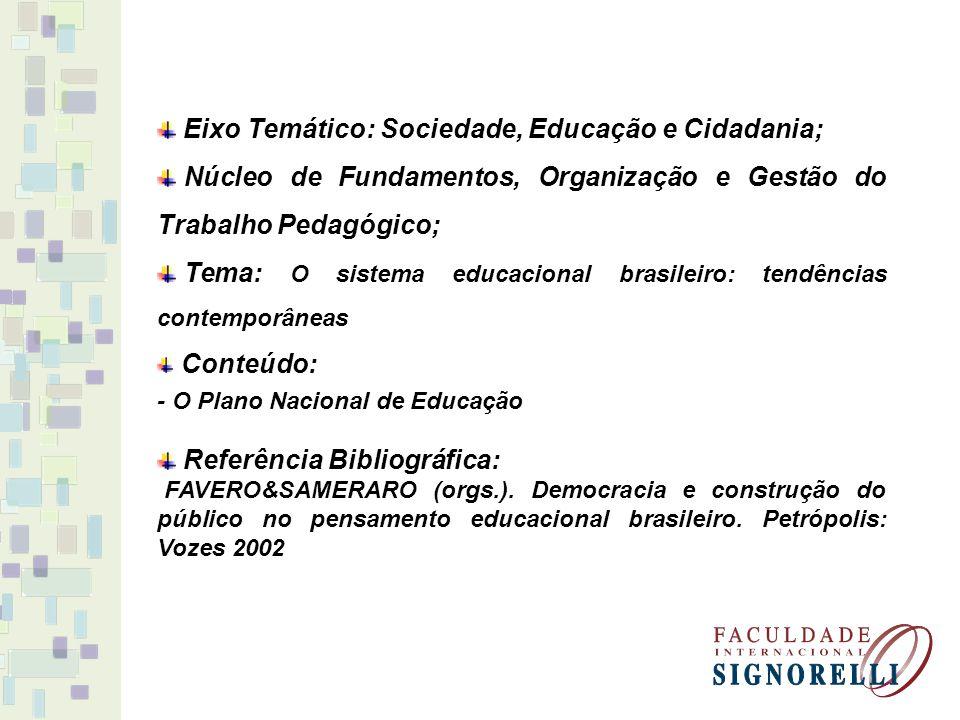 Eixo Temático: Sociedade, Educação e Cidadania; Núcleo de Fundamentos, Organização e Gestão do Trabalho Pedagógico; Tema: O sistema educacional brasil