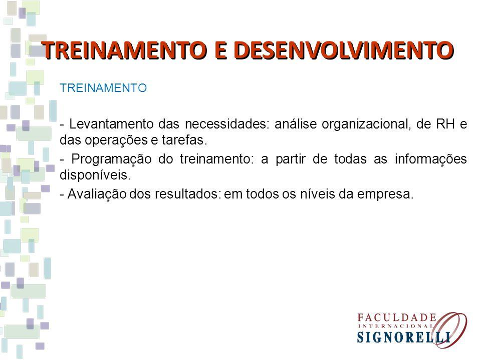 TREINAMENTO - Levantamento das necessidades: análise organizacional, de RH e das operações e tarefas. - Programação do treinamento: a partir de todas