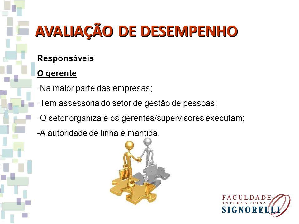 Responsáveis O próprio indivíduo - Auto-avaliação AVALIAÇÃO DE DESEMPENHO