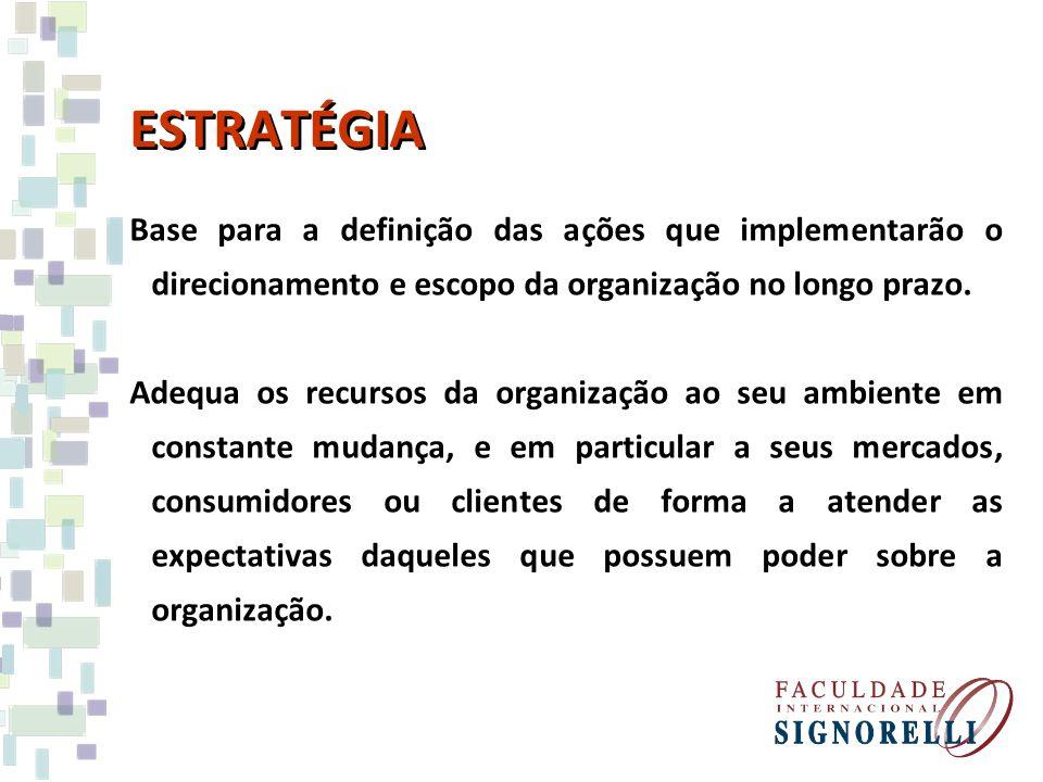 ESTRATÉGIA Base para a definição das ações que implementarão o direcionamento e escopo da organização no longo prazo. Adequa os recursos da organizaçã