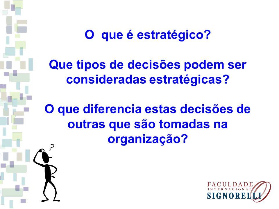 O que é estratégico? Que tipos de decisões podem ser consideradas estratégicas? O que diferencia estas decisões de outras que são tomadas na organizaç