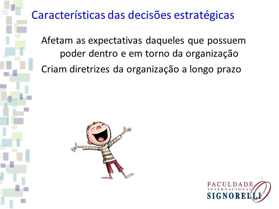 Características das decisões estratégicas Afetam as expectativas daqueles que possuem poder dentro e em torno da organização Criam diretrizes da organ