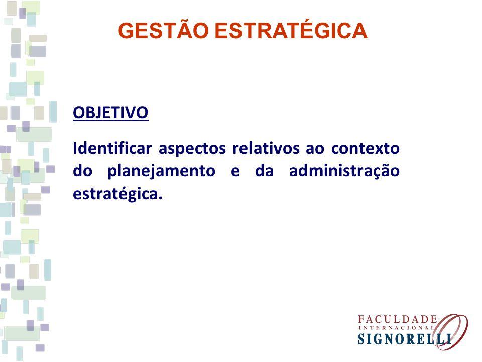 GESTÃO ESTRATÉGICA OBJETIVO Identificar aspectos relativos ao contexto do planejamento e da administração estratégica.