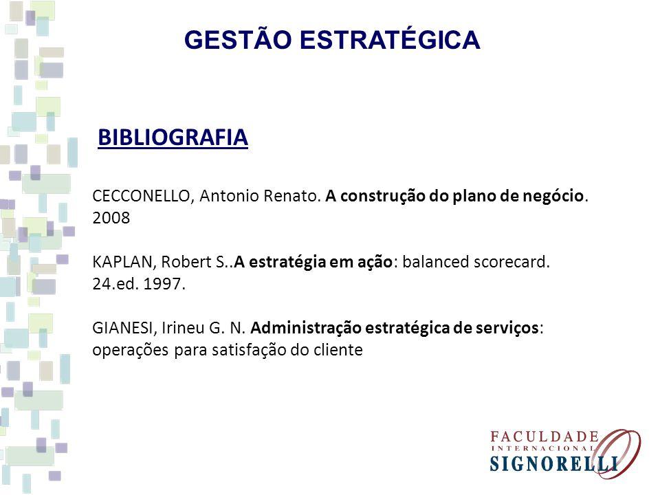 GESTÃO ESTRATÉGICA BIBLIOGRAFIA CECCONELLO, Antonio Renato. A construção do plano de negócio. 2008 KAPLAN, Robert S..A estratégia em ação: balanced sc