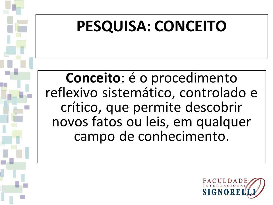PESQUISA: CONCEITO Conceito: é o procedimento reflexivo sistemático, controlado e crítico, que permite descobrir novos fatos ou leis, em qualquer campo de conhecimento.