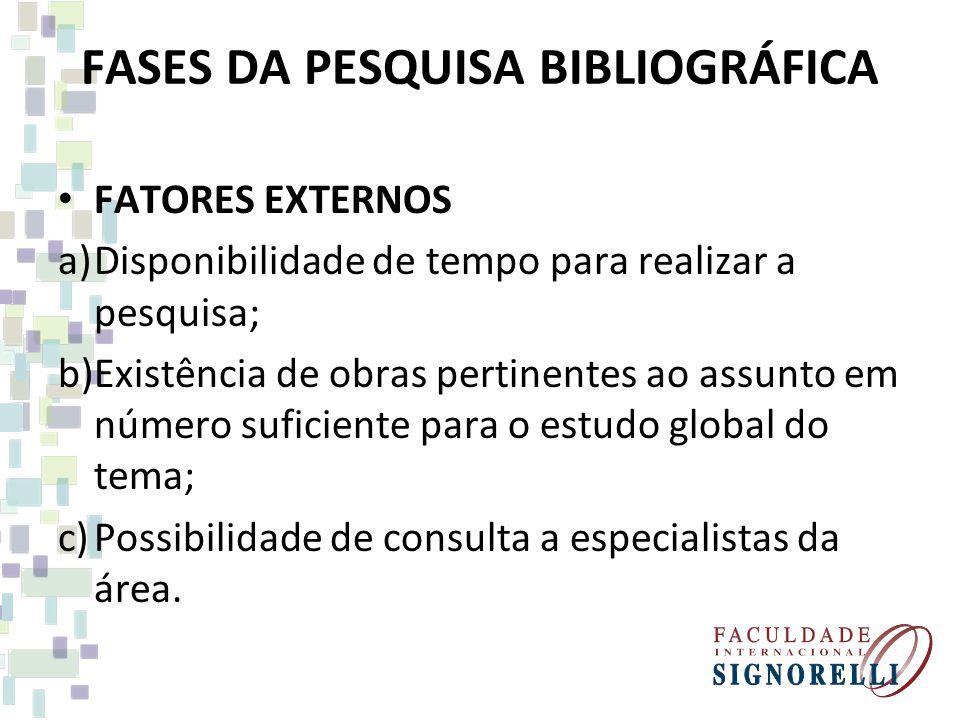 FATORES EXTERNOS a)Disponibilidade de tempo para realizar a pesquisa; b)Existência de obras pertinentes ao assunto em número suficiente para o estudo global do tema; c)Possibilidade de consulta a especialistas da área.