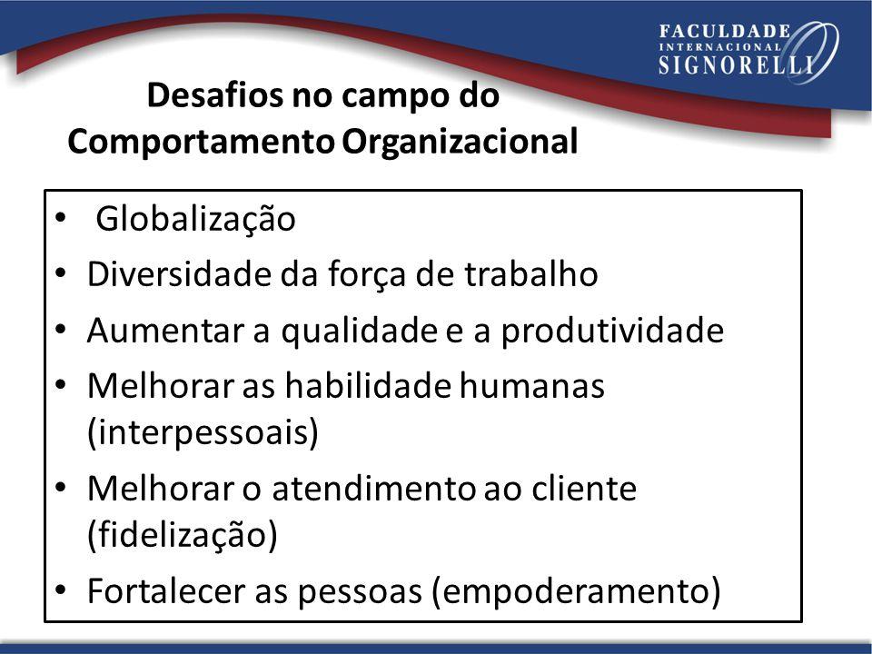 Desafios no campo do Comportamento Organizacional Globalização Diversidade da força de trabalho Aumentar a qualidade e a produtividade Melhorar as habilidade humanas (interpessoais) Melhorar o atendimento ao cliente (fidelização) Fortalecer as pessoas (empoderamento)