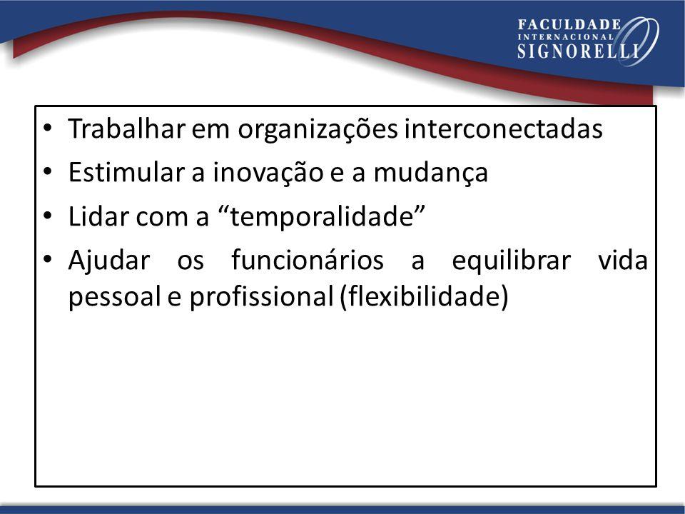 Trabalhar em organizações interconectadas Estimular a inovação e a mudança Lidar com a temporalidade Ajudar os funcionários a equilibrar vida pessoal e profissional (flexibilidade)