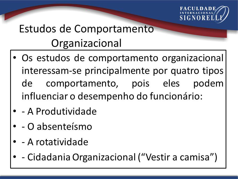 Estudos de Comportamento Organizacional Os estudos de comportamento organizacional interessam-se principalmente por quatro tipos de comportamento, pois eles podem influenciar o desempenho do funcionário: - A Produtividade - O absenteísmo - A rotatividade - Cidadania Organizacional (Vestir a camisa)