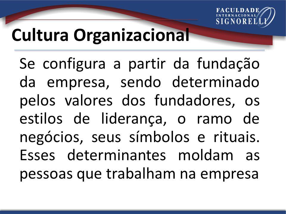 Cultura Organizacional Se configura a partir da fundação da empresa, sendo determinado pelos valores dos fundadores, os estilos de liderança, o ramo de negócios, seus símbolos e rituais.