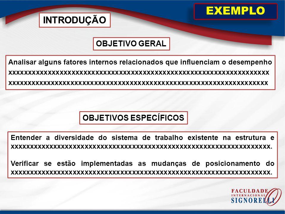 OBJETIVO GERAL INTRODUÇÃO EXEMPLO OBJETIVOS ESPECÍFICOS Analisar alguns fatores internos relacionados que influenciam o desempenho xxxxxxxxxxxxxxxxxxx