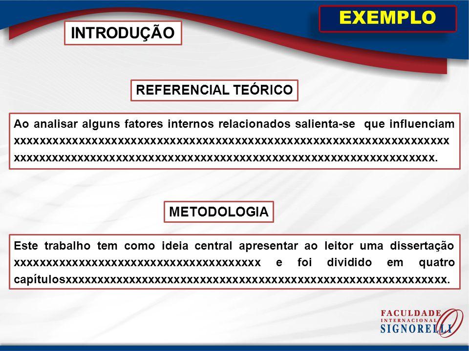 REFERENCIAL TEÓRICO INTRODUÇÃO EXEMPLO Ao analisar alguns fatores internos relacionados salienta-se que influenciam xxxxxxxxxxxxxxxxxxxxxxxxxxxxxxxxxx