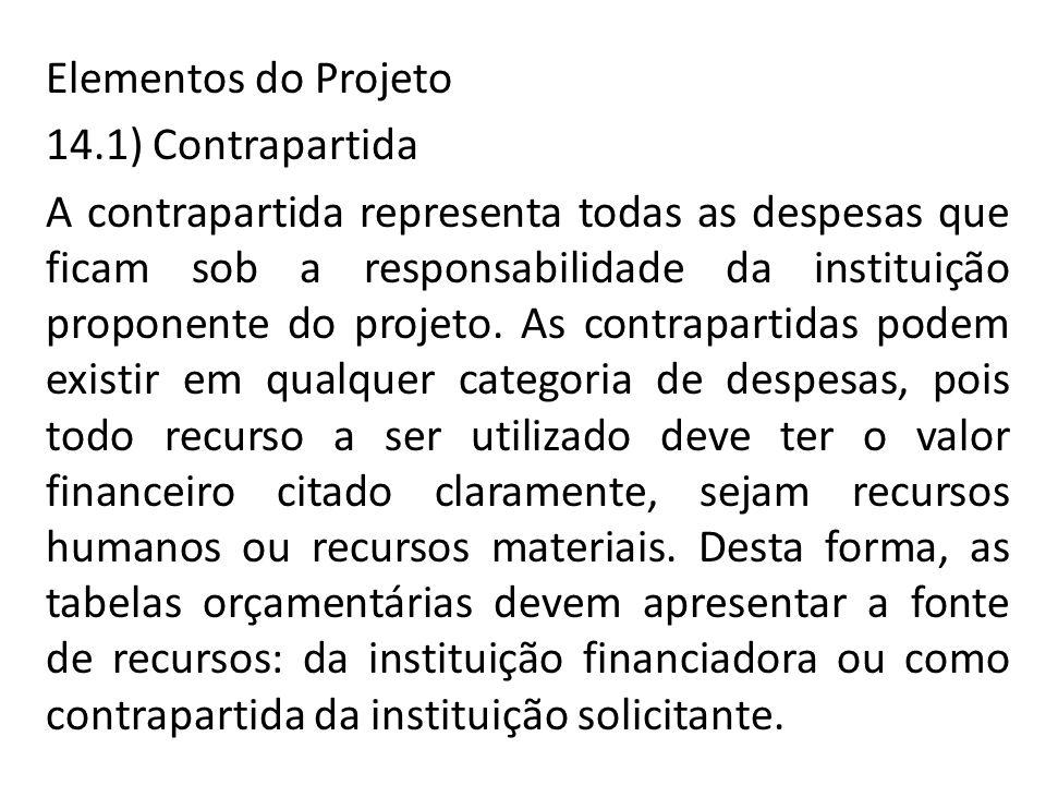 Elementos do Projeto 14.1) Contrapartida A contrapartida representa todas as despesas que ficam sob a responsabilidade da instituição proponente do projeto.