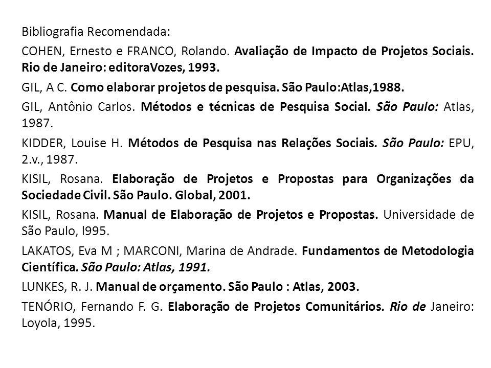 Bibliografia Recomendada: COHEN, Ernesto e FRANCO, Rolando. Avaliação de Impacto de Projetos Sociais. Rio de Janeiro: editoraVozes, 1993. GIL, A C. Co