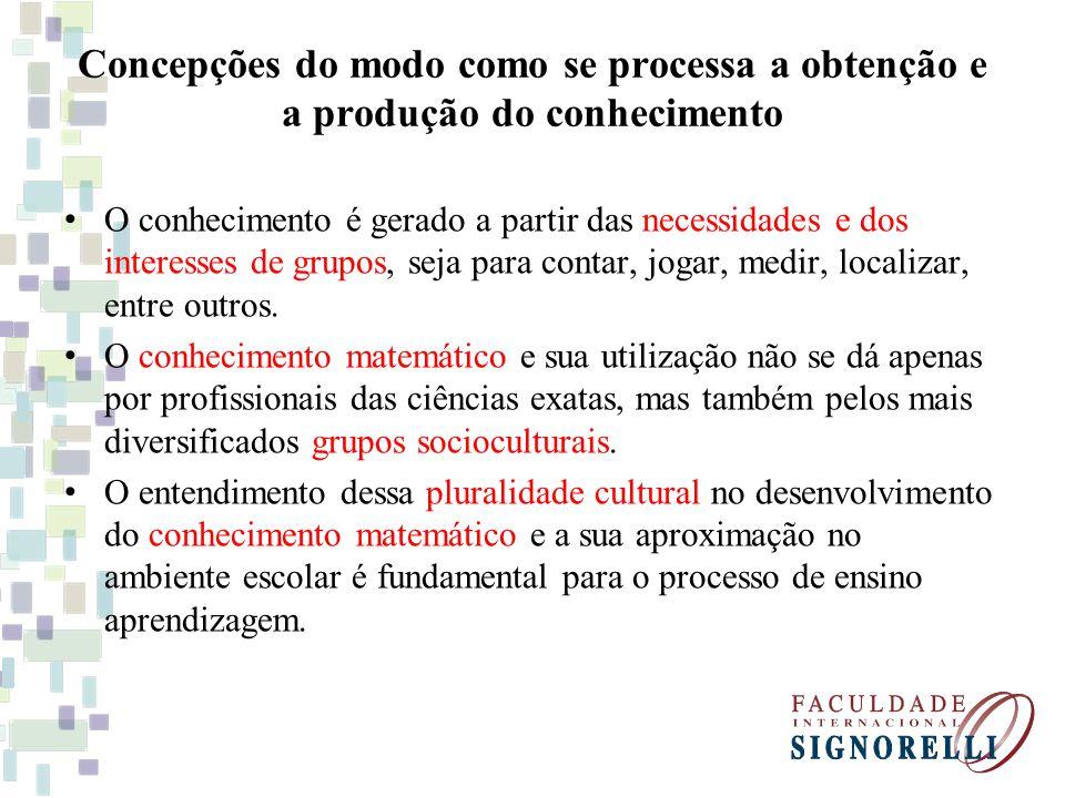 Concepções do modo como se processa a obtenção e a produção do conhecimento O conhecimento é gerado a partir das necessidades e dos interesses de grup