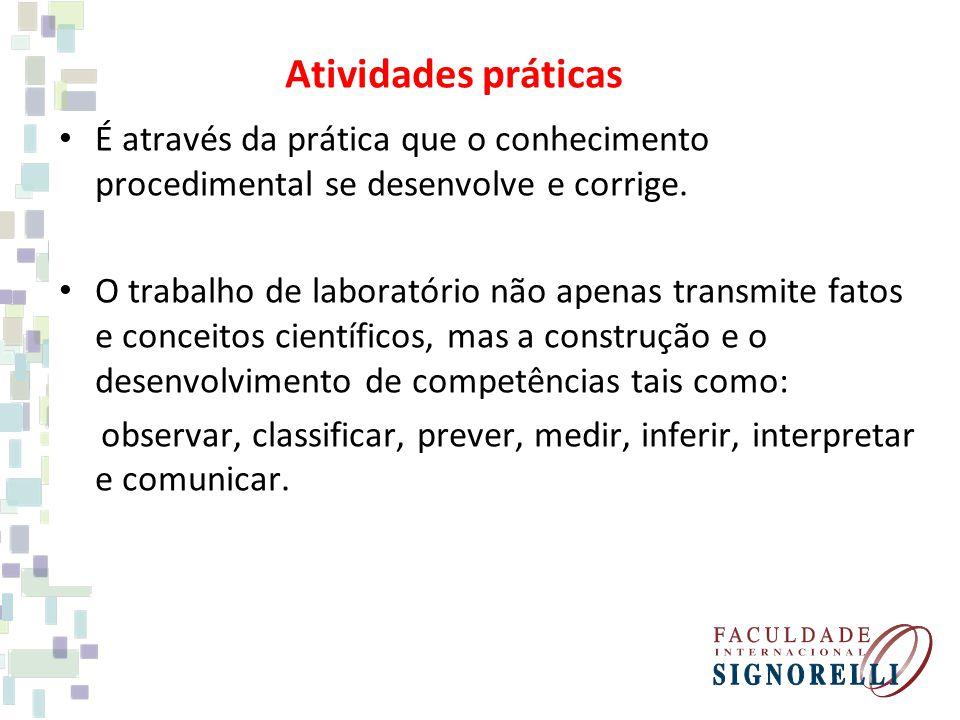 Atividades práticas É através da prática que o conhecimento procedimental se desenvolve e corrige. O trabalho de laboratório não apenas transmite fato