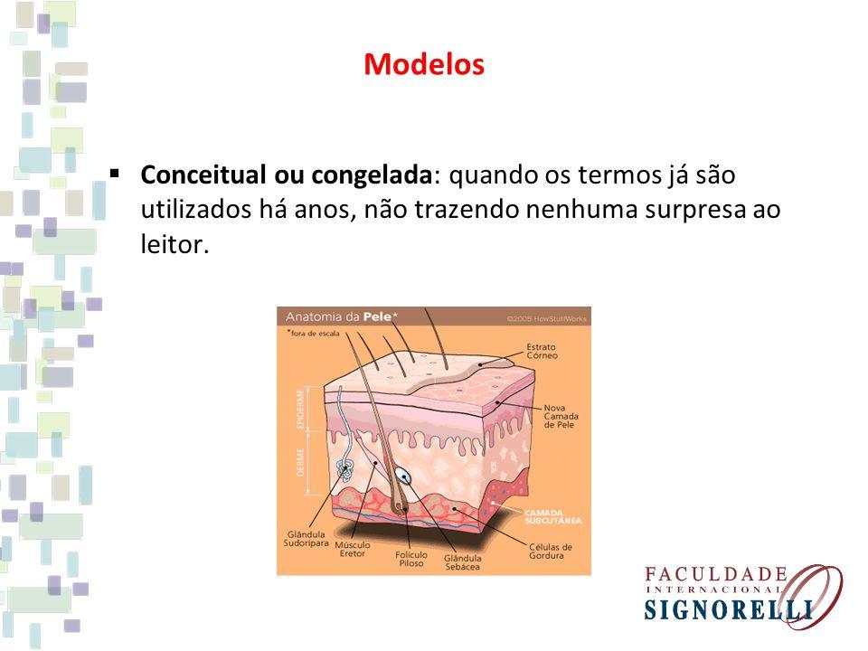 Conceitual ou congelada: quando os termos já são utilizados há anos, não trazendo nenhuma surpresa ao leitor. Modelos