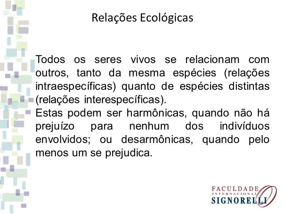 Relações Ecológicas Todos os seres vivos se relacionam com outros, tanto da mesma espécies (relações intraespecíficas) quanto de espécies distintas (relações interespecíficas).