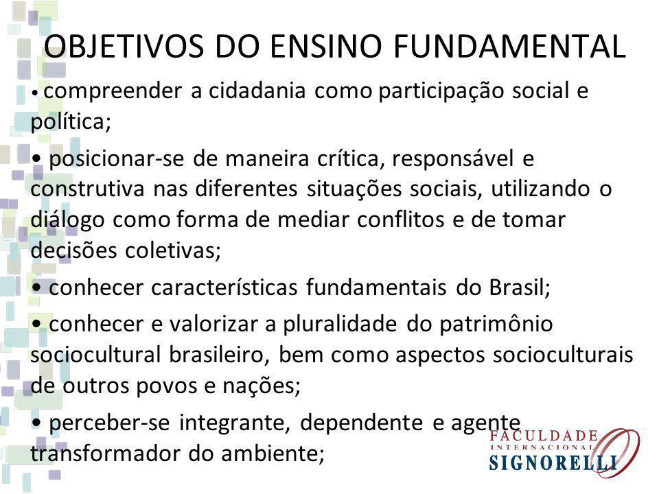 OBJETIVOS DO ENSINO FUNDAMENTAL compreender a cidadania como participação social e política; posicionar-se de maneira crítica, responsável e construti