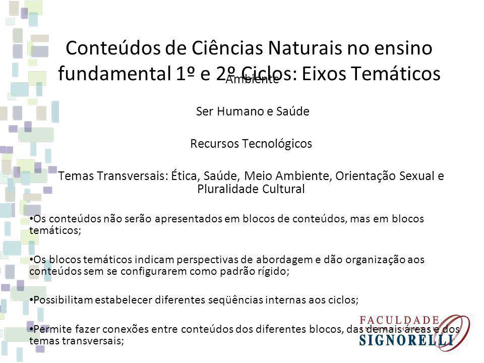 Conteúdos de Ciências Naturais no ensino fundamental 1º e 2º Ciclos: Eixos Temáticos Ambiente Ser Humano e Saúde Recursos Tecnológicos Temas Transvers