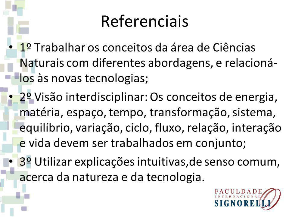 Referenciais 1º Trabalhar os conceitos da área de Ciências Naturais com diferentes abordagens, e relacioná- los às novas tecnologias; 2º Visão interdi
