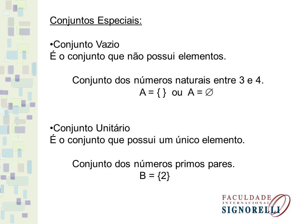 Conjuntos Especiais: Conjunto Vazio É o conjunto que não possui elementos.