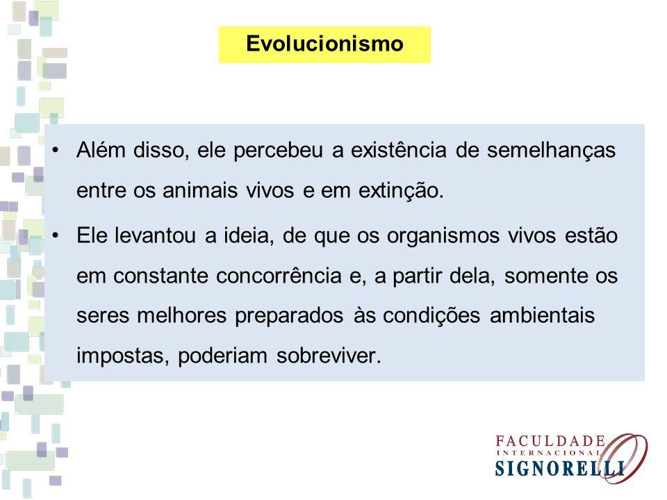 Além disso, ele percebeu a existência de semelhanças entre os animais vivos e em extinção. Ele levantou a ideia, de que os organismos vivos estão em c