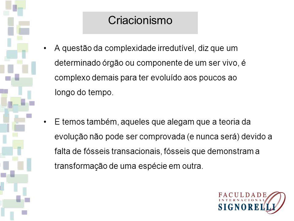 Criacionismo A questão da complexidade irredutível, diz que um determinado órgão ou componente de um ser vivo, é complexo demais para ter evoluído aos