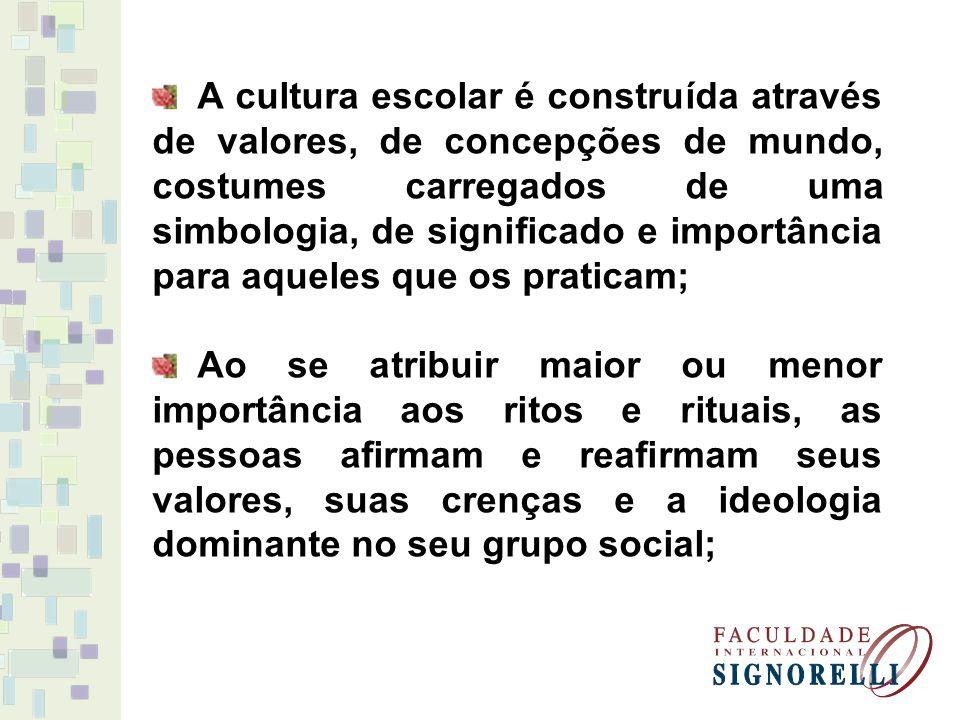 A cultura escolar é construída através de valores, de concepções de mundo, costumes carregados de uma simbologia, de significado e importância para aq