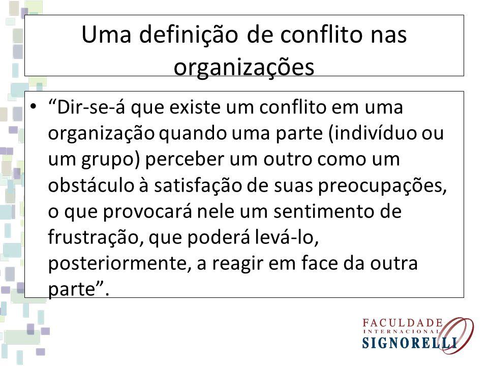 Uma definição de conflito nas organizações Dir-se-á que existe um conflito em uma organização quando uma parte (indivíduo ou um grupo) perceber um out