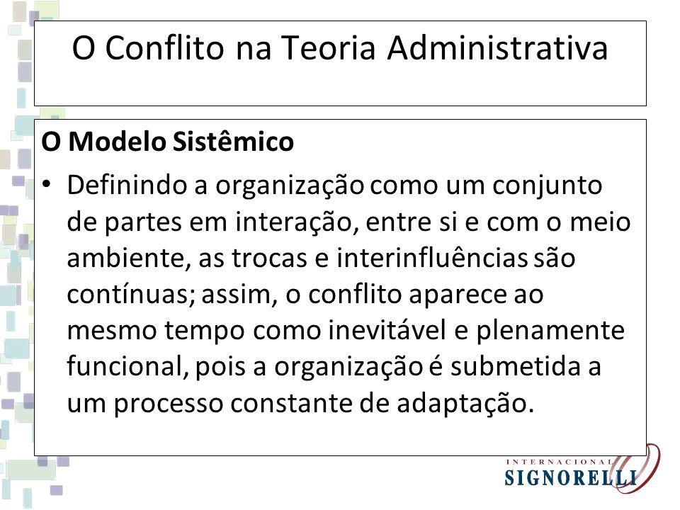 O Conflito na Teoria Administrativa O Modelo Sistêmico Definindo a organização como um conjunto de partes em interação, entre si e com o meio ambiente