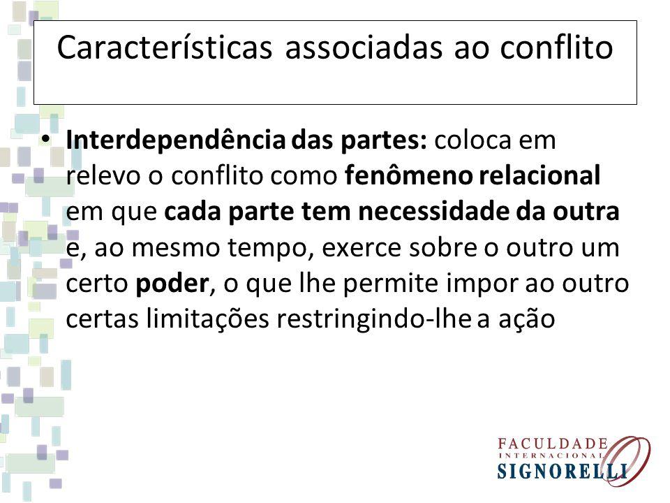 Características associadas ao conflito Interdependência das partes: coloca em relevo o conflito como fenômeno relacional em que cada parte tem necessi