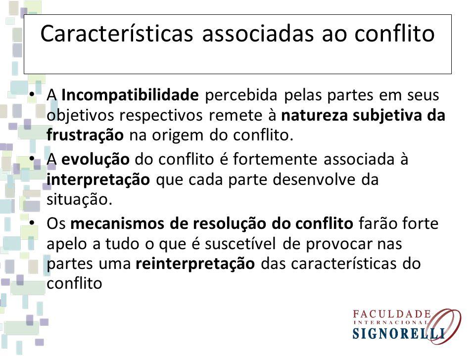 Características associadas ao conflito A Incompatibilidade percebida pelas partes em seus objetivos respectivos remete à natureza subjetiva da frustra